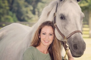 "Courtney Varney and her purebred Arabian mare ""Tess""."