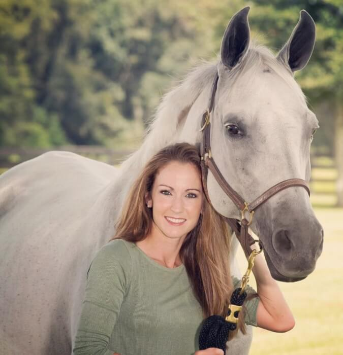 """Courtney Varney and her purebred Arabian mare """"Tess""""."""