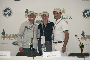 press conference photo of Michael Jung, Liz Halliday-Sharp & Phillip Dutton - Photo credit Leslie Threkald, Eventing Nation