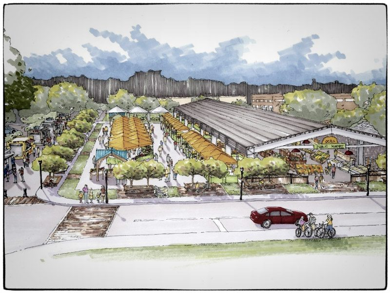 downtown hotel \u0026 farm market revitalization on tap! ocala horseocala farm market drawing, courtesy feel downtown ocala
